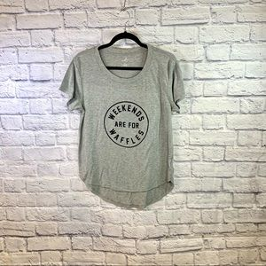 """Grey & Black """"Weekends are for Waffles"""" Tee"""